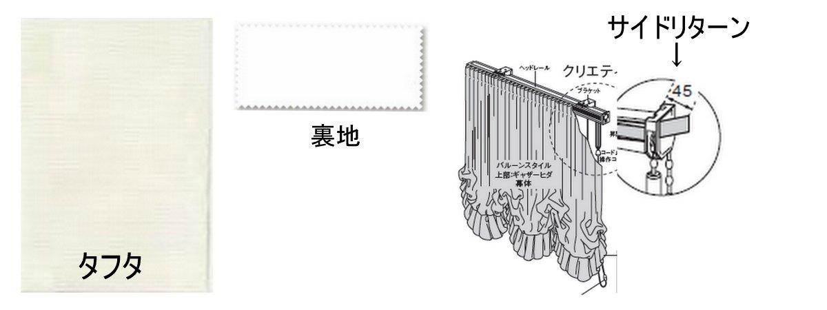 採用生地タフタと裏地の画像 サイドリターン仕様の説明図