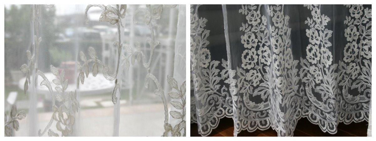 オーガンジー刺繍 透け具合 裾スカラップ