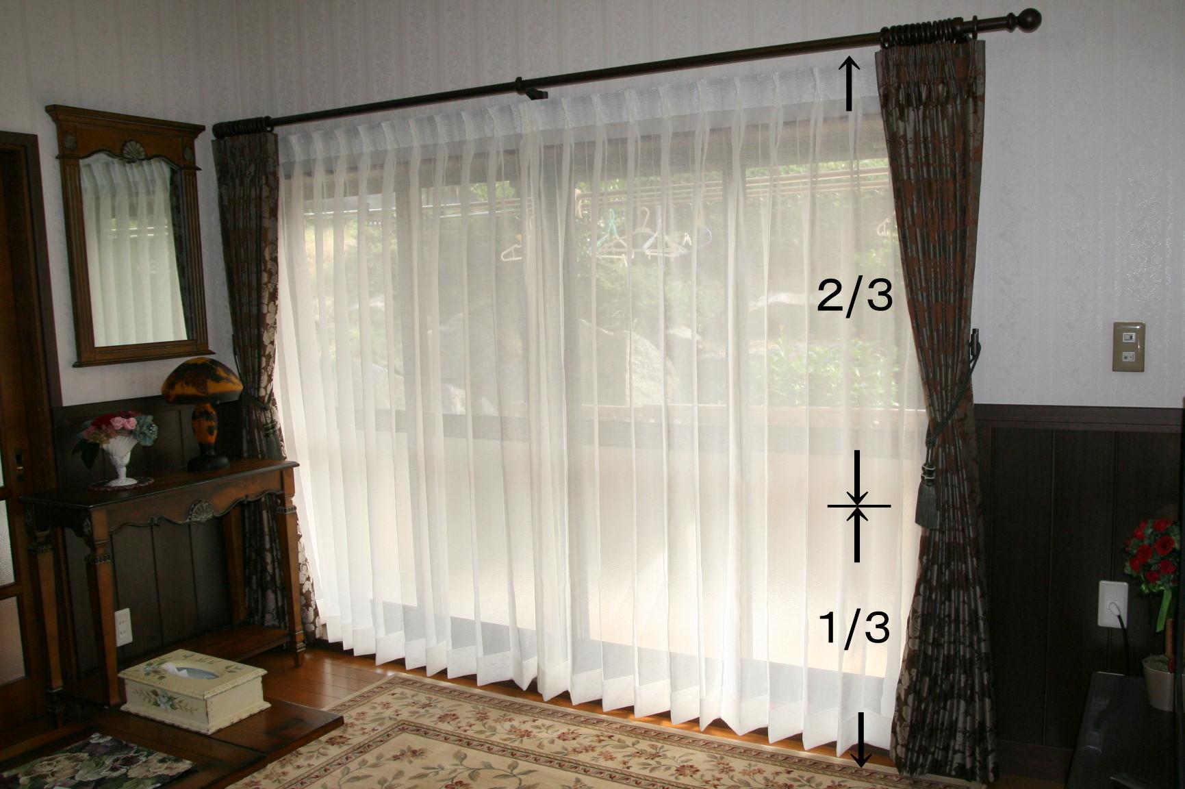 ふさかけ取り付け位置 房の中央がカーテン丈の下から1/3程度