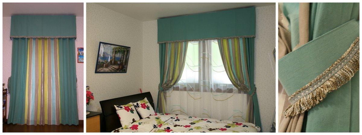 ベットルームのカーテン全閉・北窓・共布タッセルにフレンジ付