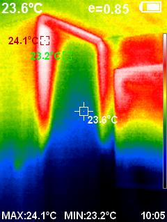 リビング階段のサーモカメラ温度分布