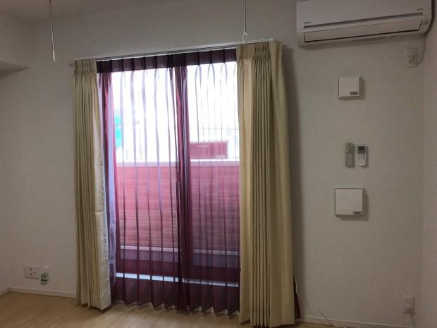洋室に電動カーテンレール(ナスノスCR200)取付