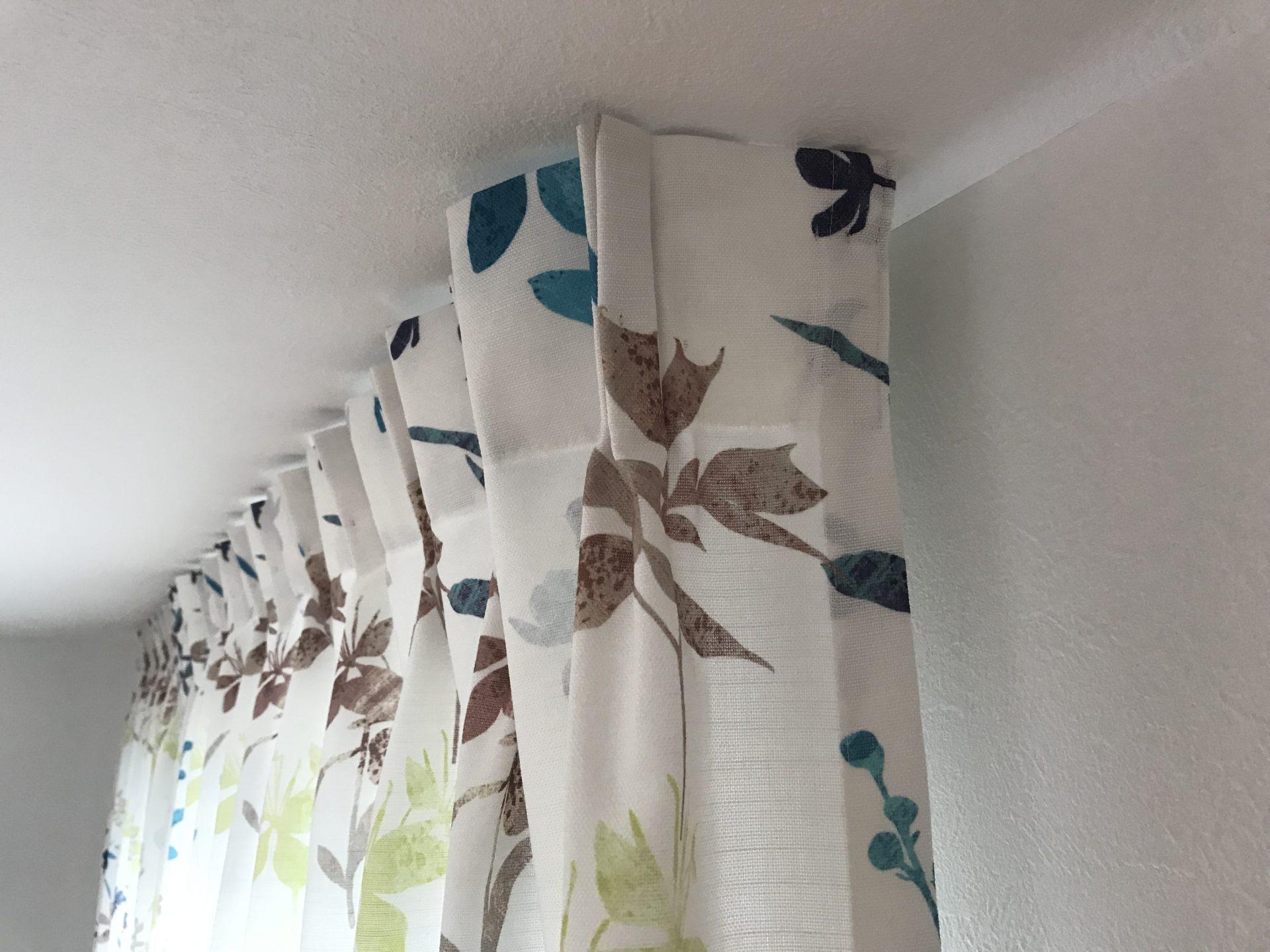 カーテンの縫製仕様、 サイドリターンとタッチングで隙間を無くす。